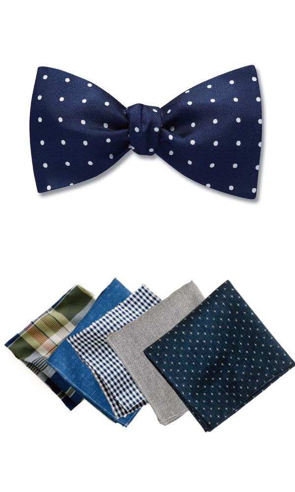 二次会で着ける蝶ネクタイとポケットチーフ
