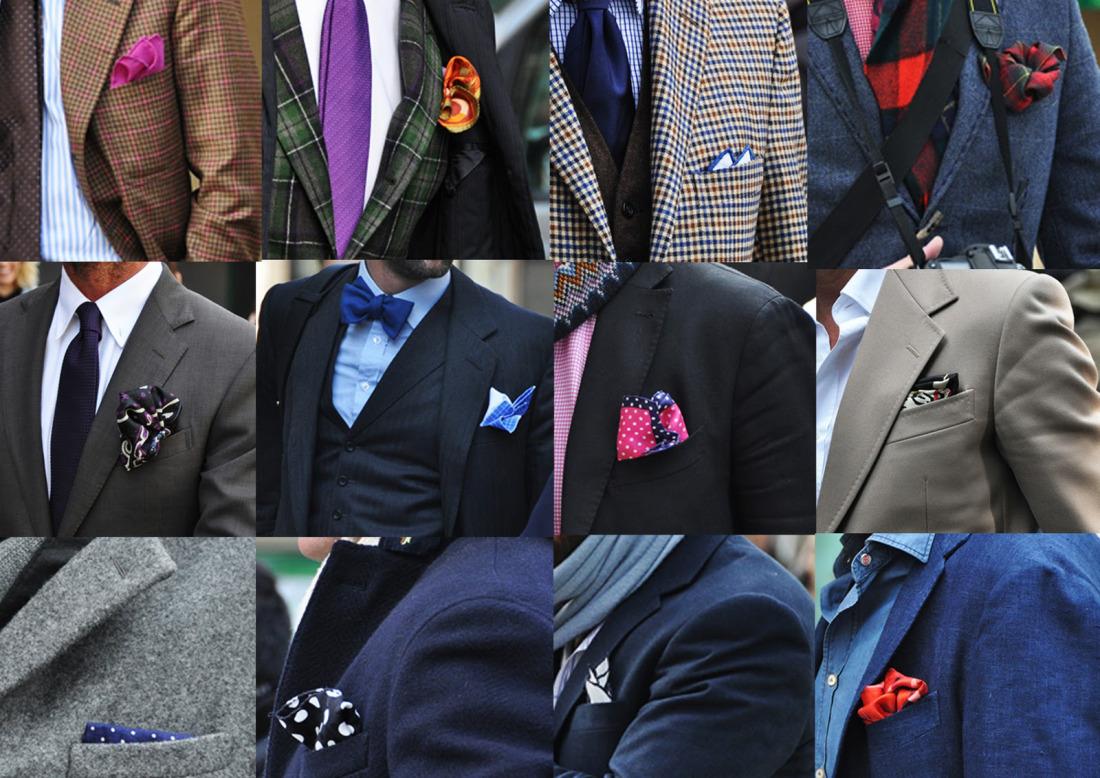 様々なデザインや色のポケットチーフ